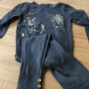 Adorable gray with gold unicorn outfit size 4/5
